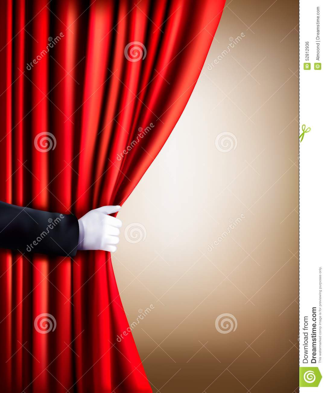 Hand In A White Glove Pulling Curtain Away Theater Stock