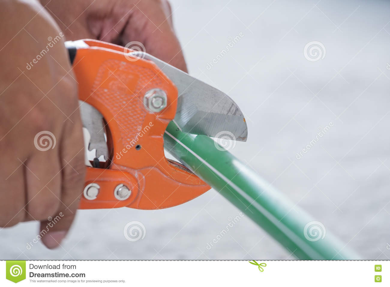 Hand Of Working Cutting PPR Pipe Stock Image - Image of fitting