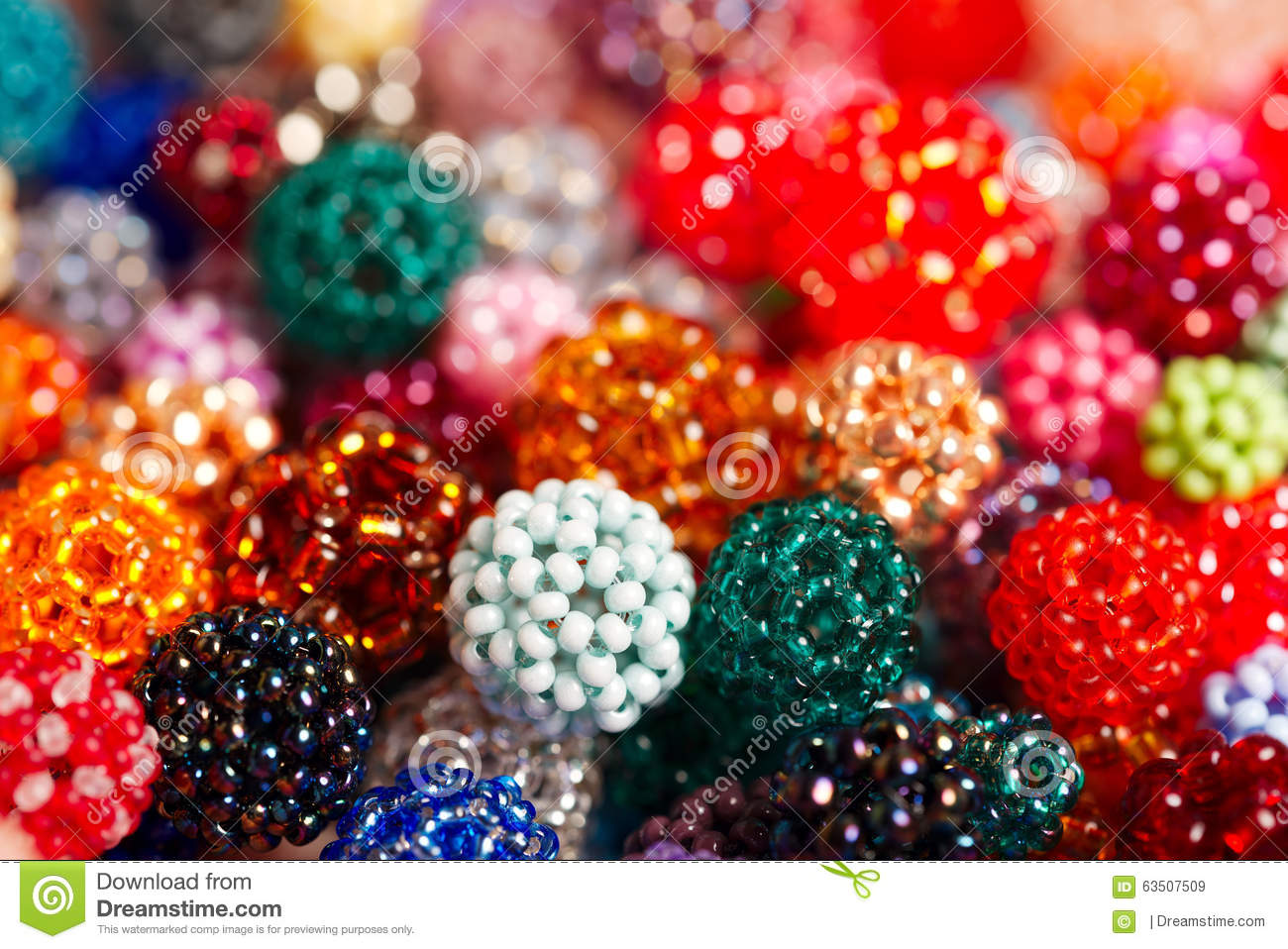 Hand Wowen Colorful Balls Made Of Tiny Glass Seed Beads Stock Image Image Of Pink Bead 63507509