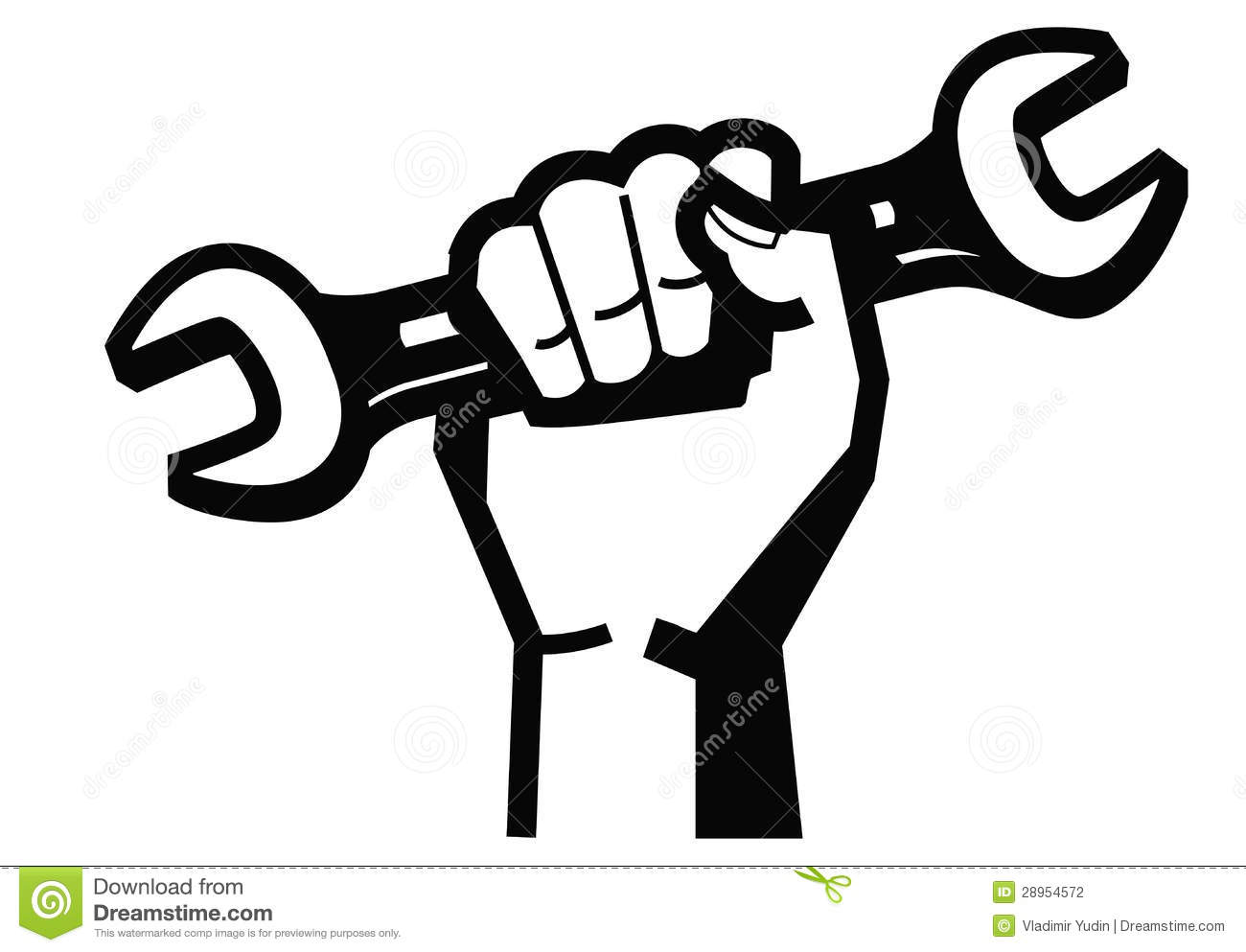 Wrench Black Vector Vector black illustration of