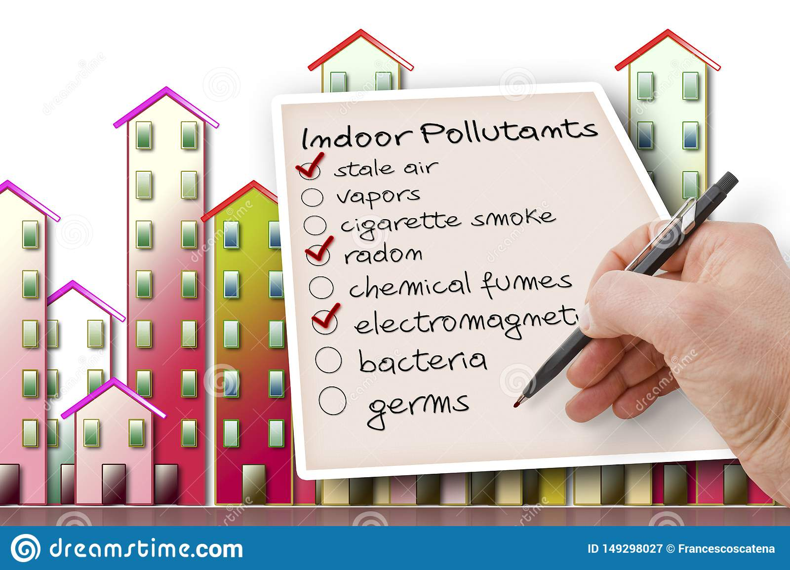 Hand Write A Check List Of Indoor Air Pollutants Against A Buildings  Background Stock Image - Image Of Cigarette, Houses: 149298027