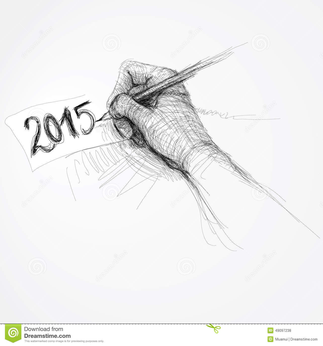 realistic sketch of happy new year card