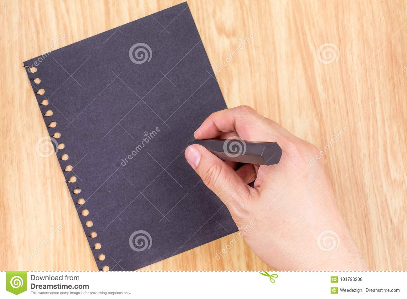 Hand Writing At Black Paperl On Wood Table Top Business Brainstorming Concept Mock Up For Adding Your Text Stock Photo Image Of Office Document 101793208