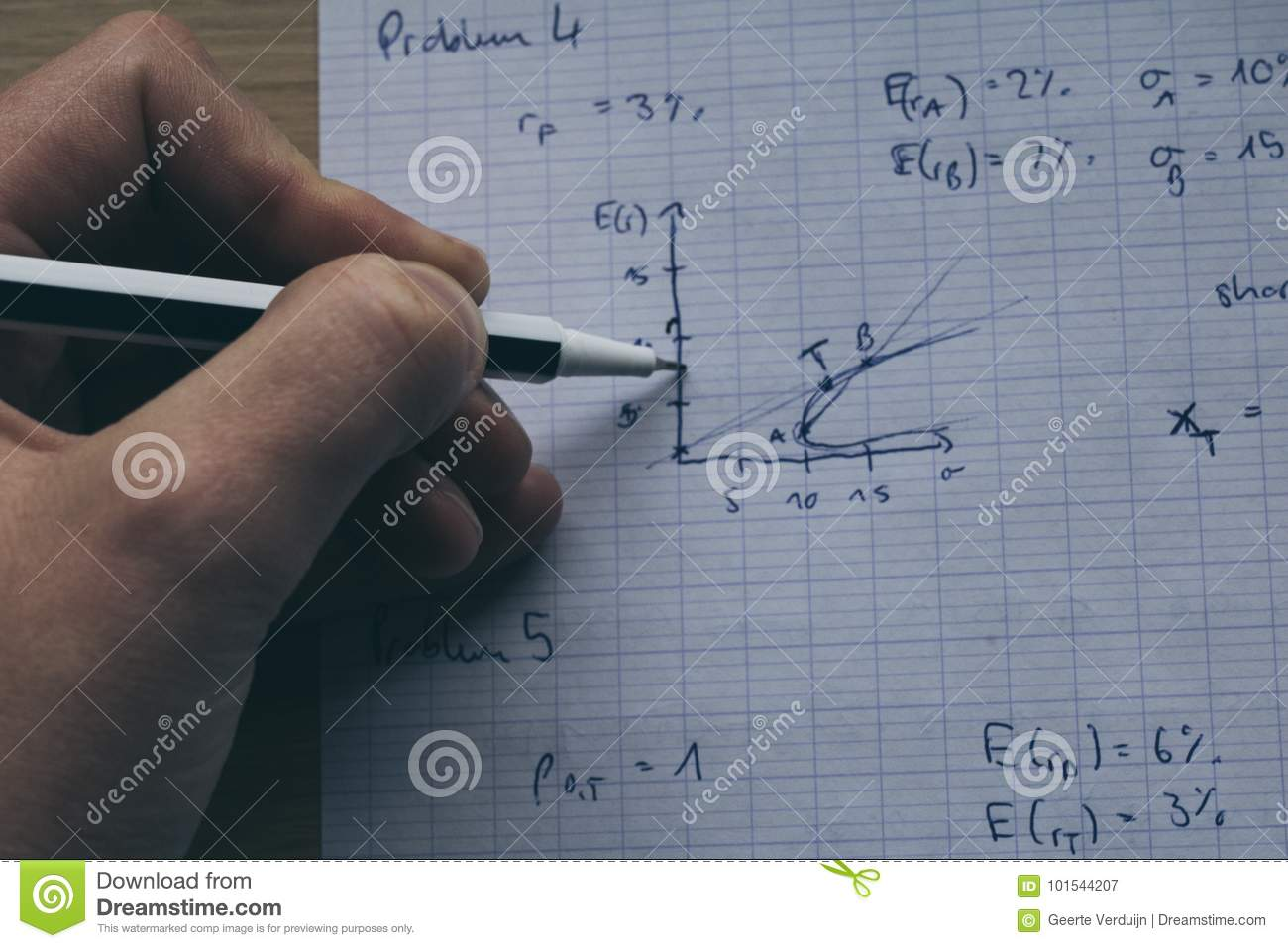 Arm, Hand And Sleeve Holding Pen Doing Maths Study Notes With Ca ...