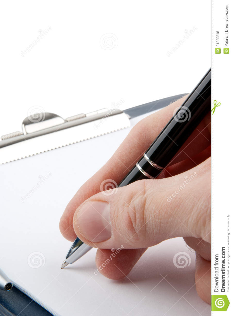 Hand Writing On An Empty Document In A Clipboard Stock ...