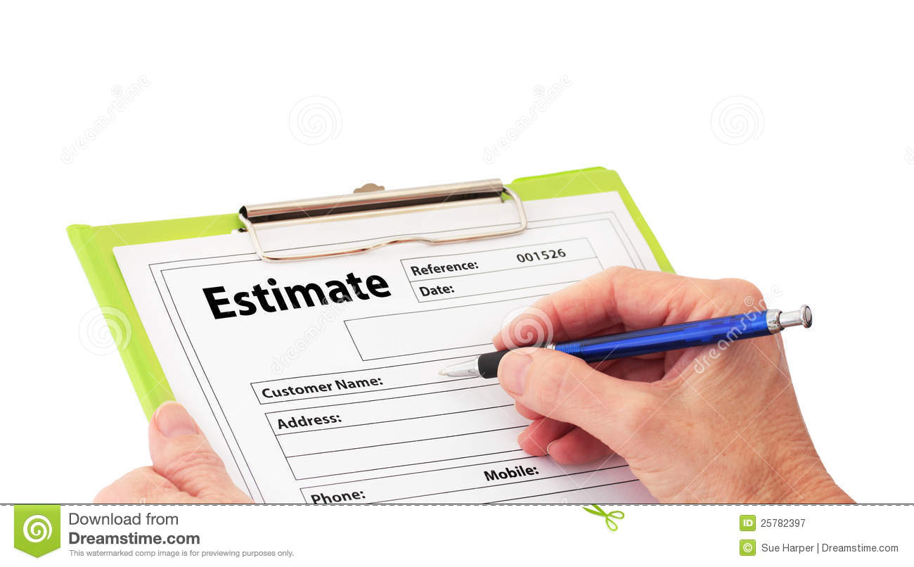 No Credit Check Credit Cards >> Hand Writing An Estimate On Clipboard Royalty Free Stock Photography - Image: 25782397