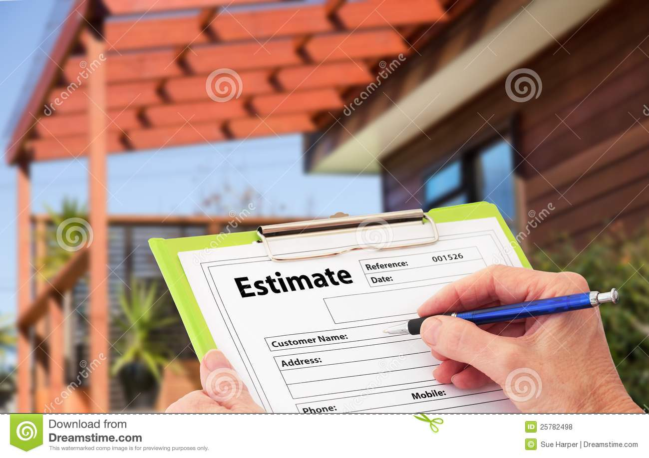Hand writing an estimate for home building renovat royalty Home builder estimate