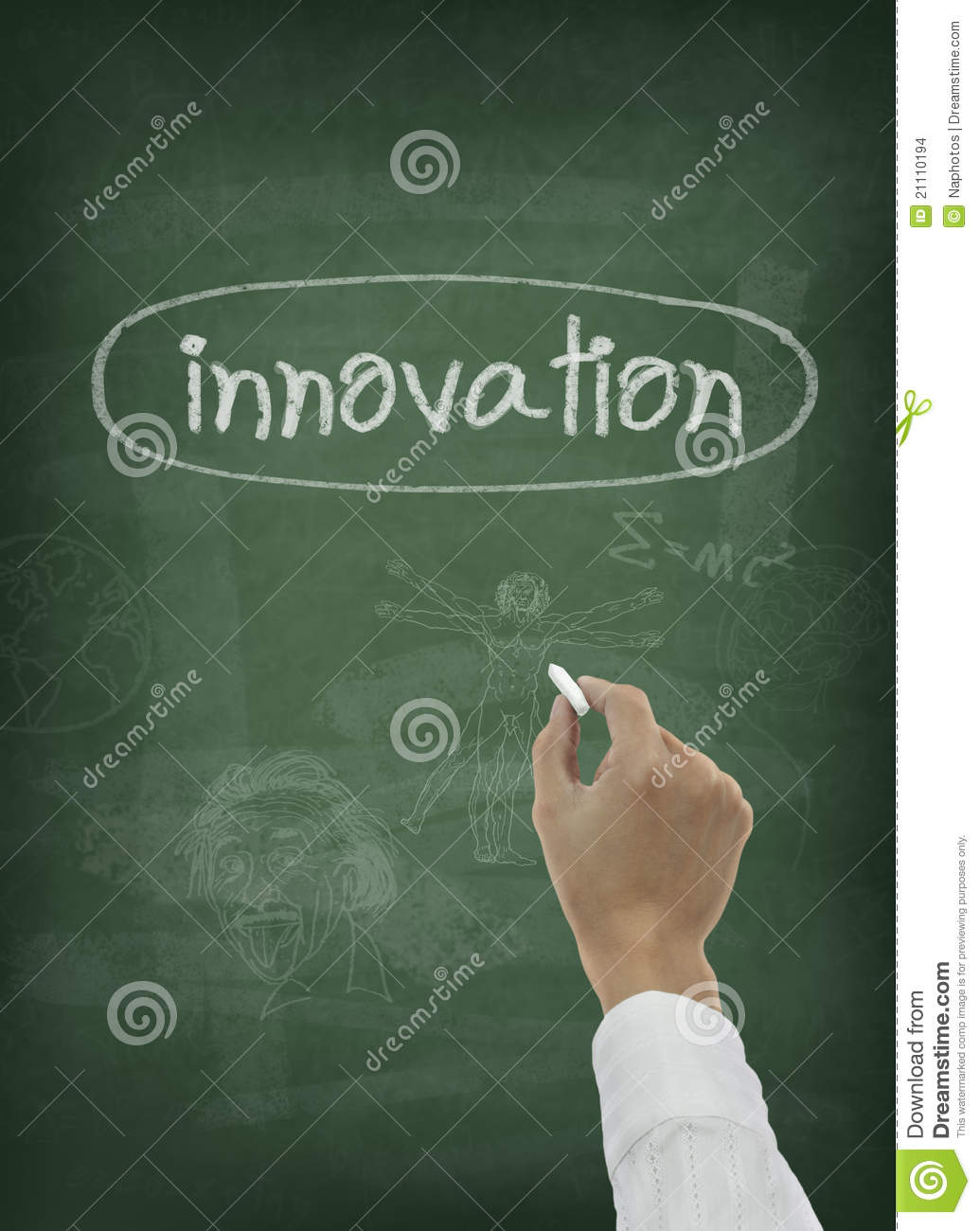 Hand Writing Innovation Word On Chalkboard Stock Images