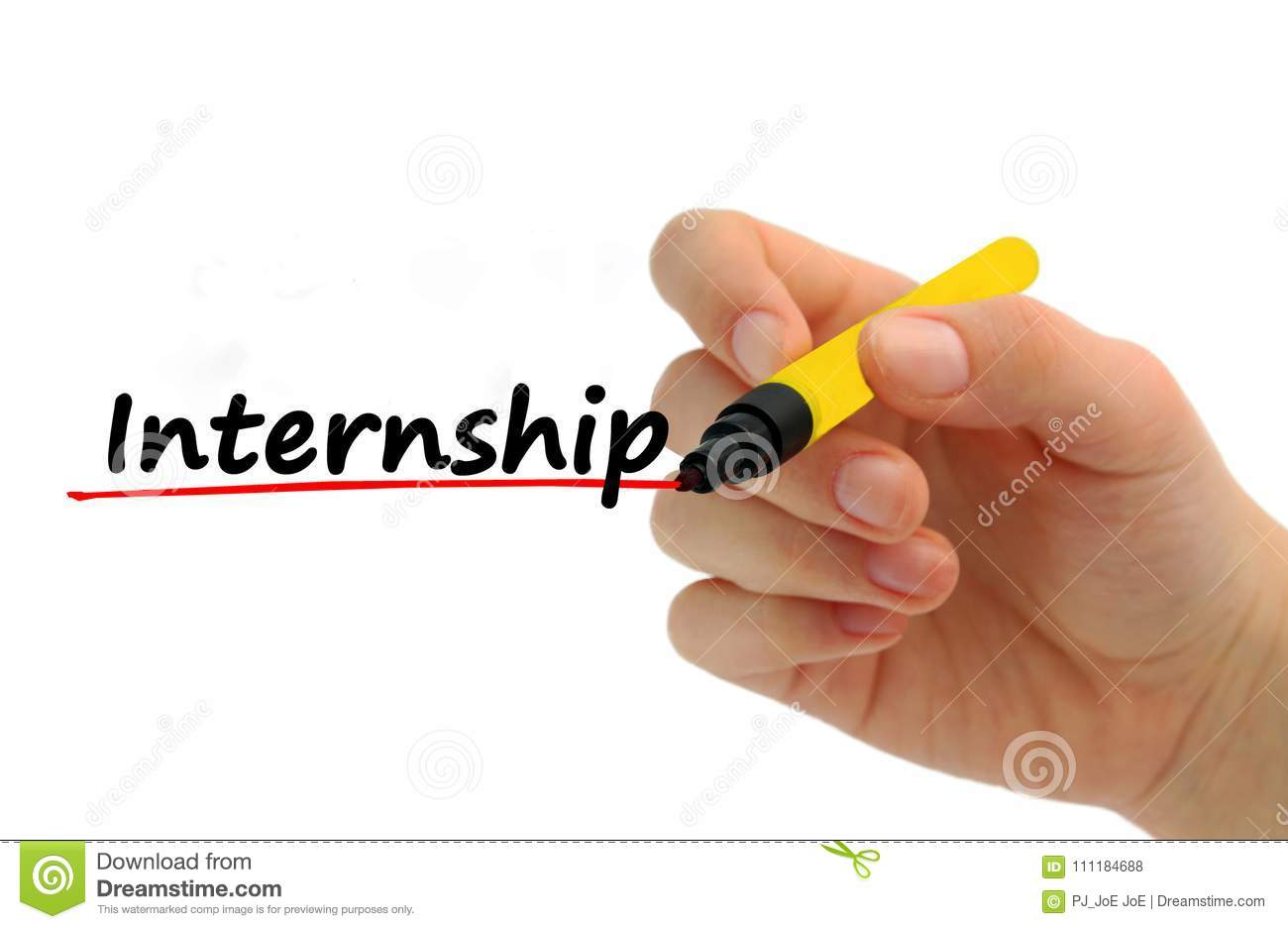 Hand writing Internship benefits with red marker