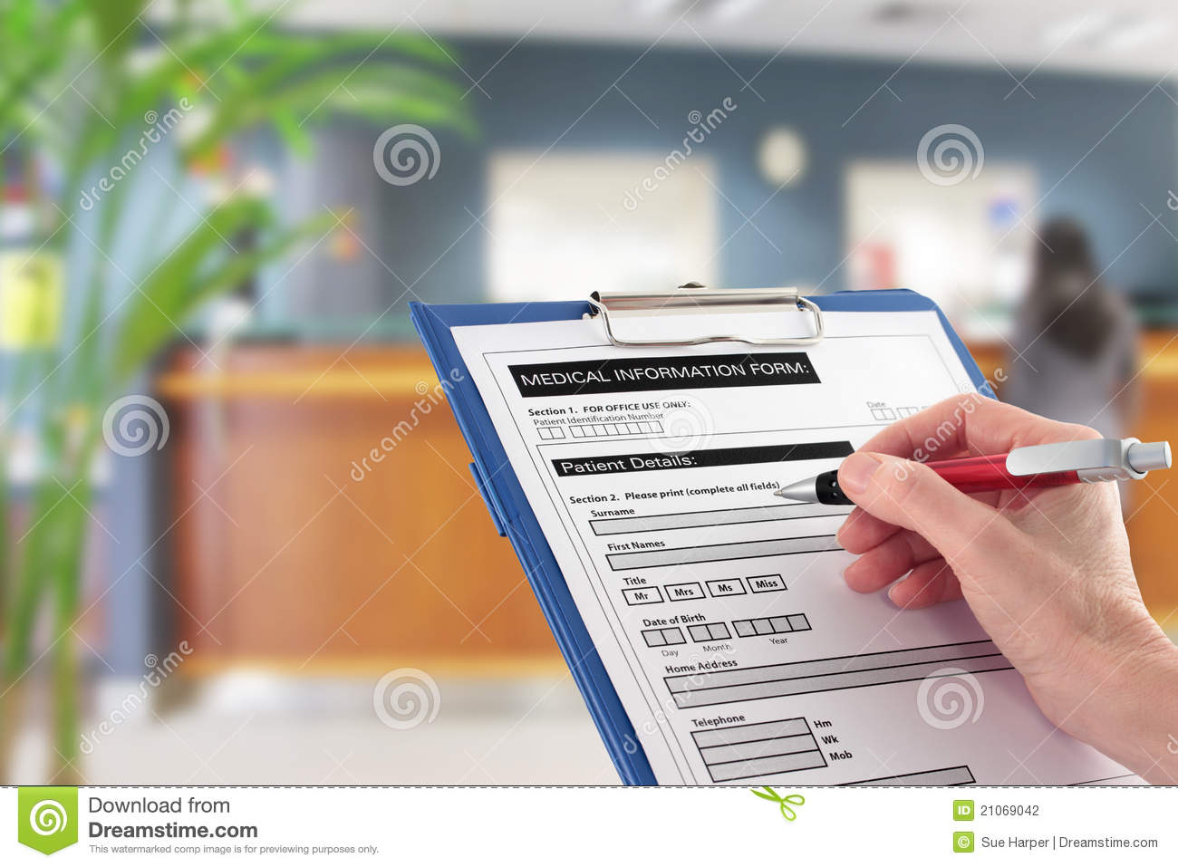 Hand Writing on Medical Details Form in Hospital