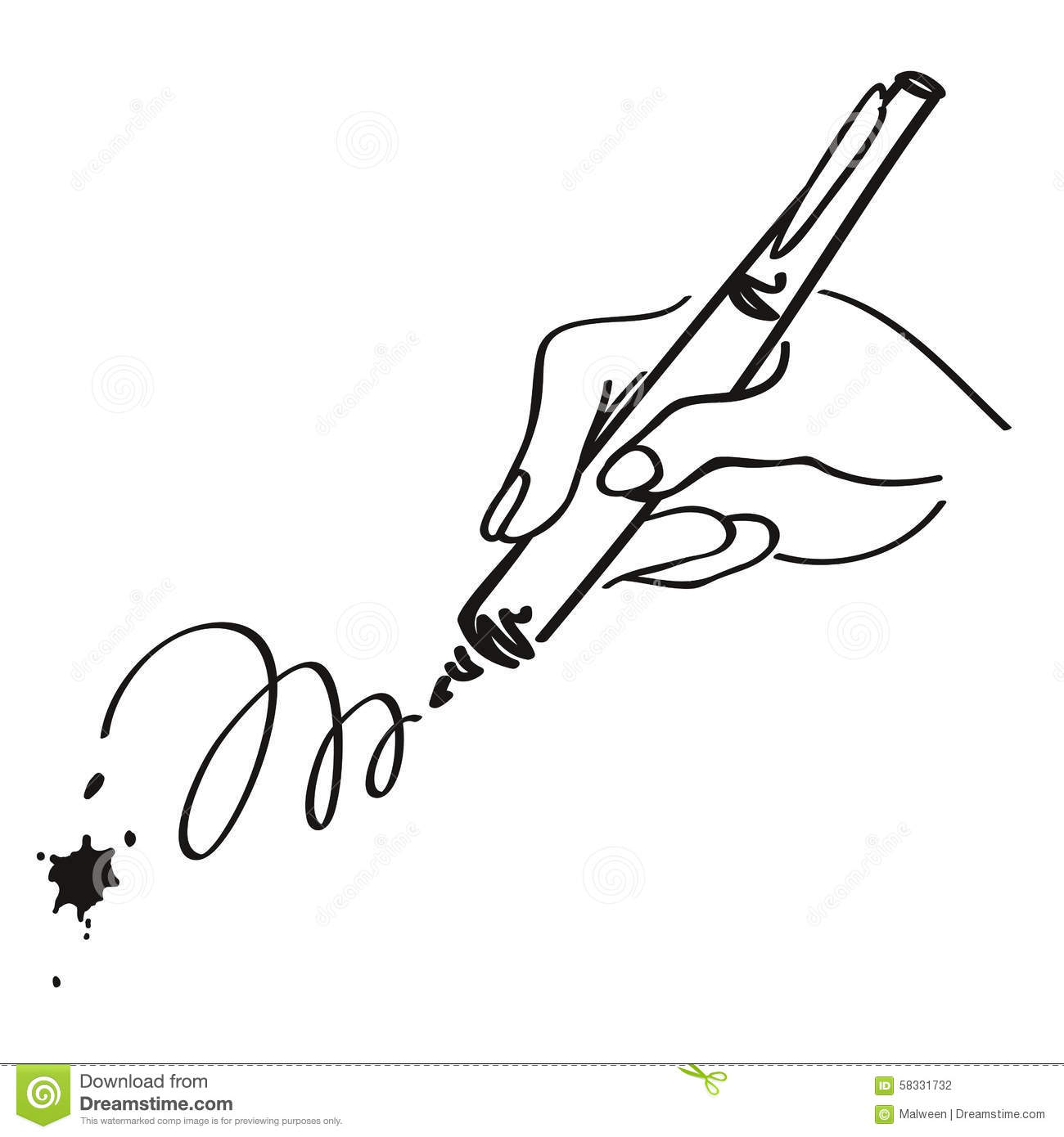 Hand writing with a pen. Vector outline illustration