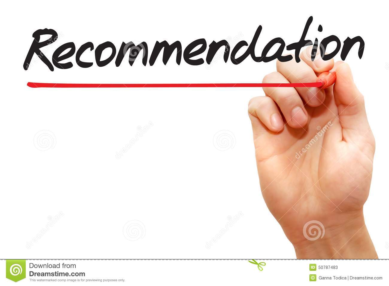 hand writing recommendation business concept stock photo image hand writing recommendation business concept