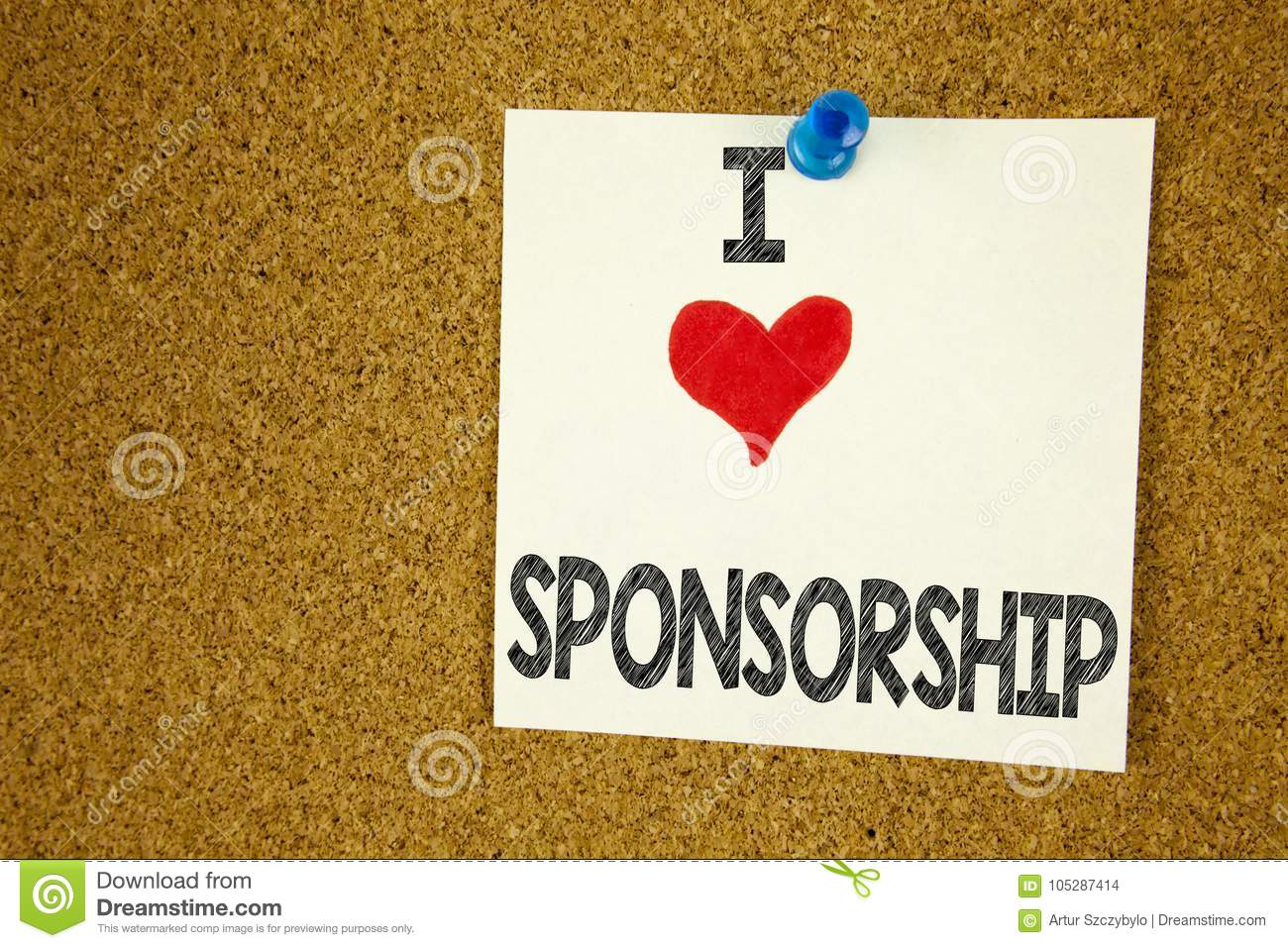 Hand writing text caption inspiration showing I Love Sponsorship concept meaning Word Cloud Concept Loving written on sticky note,