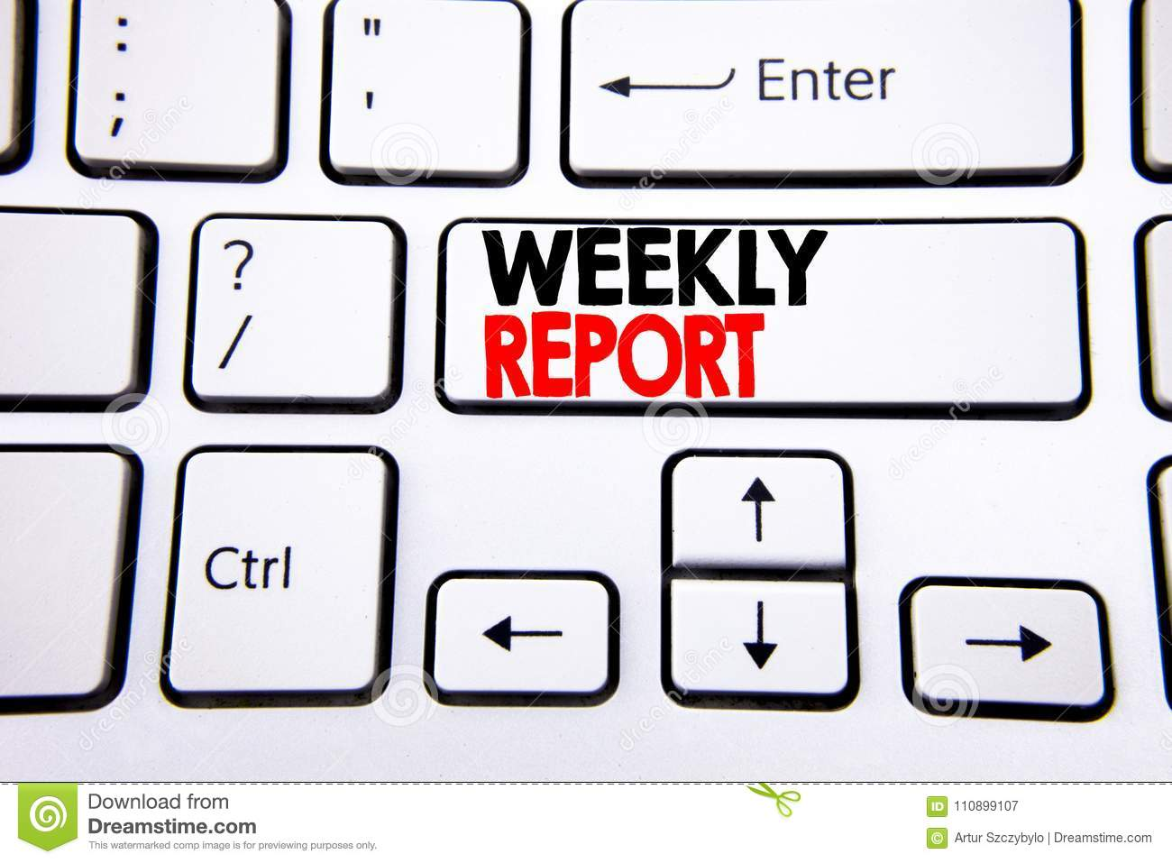 Hand Writing Text Caption Inspiration Showing Weekly Report ...