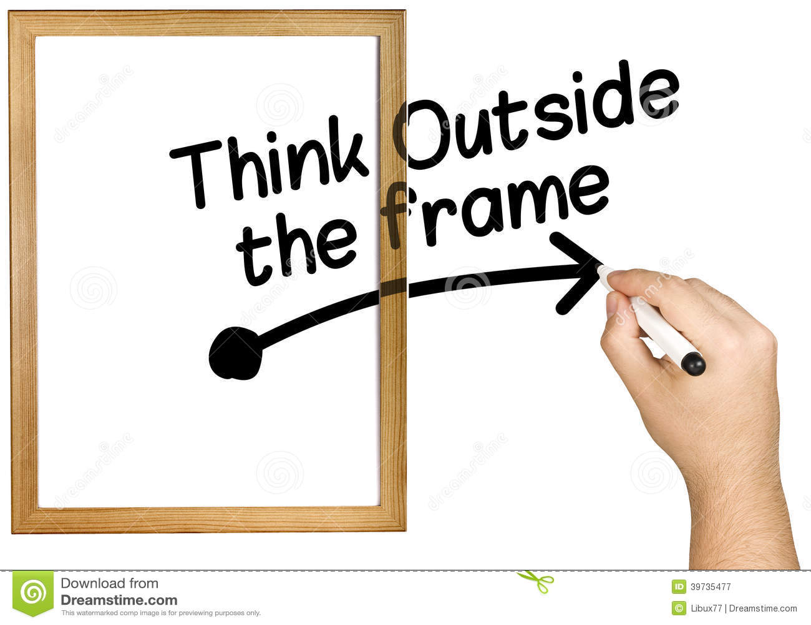 Hand Writing Think Outside Frame Marker Whiteboard Stock