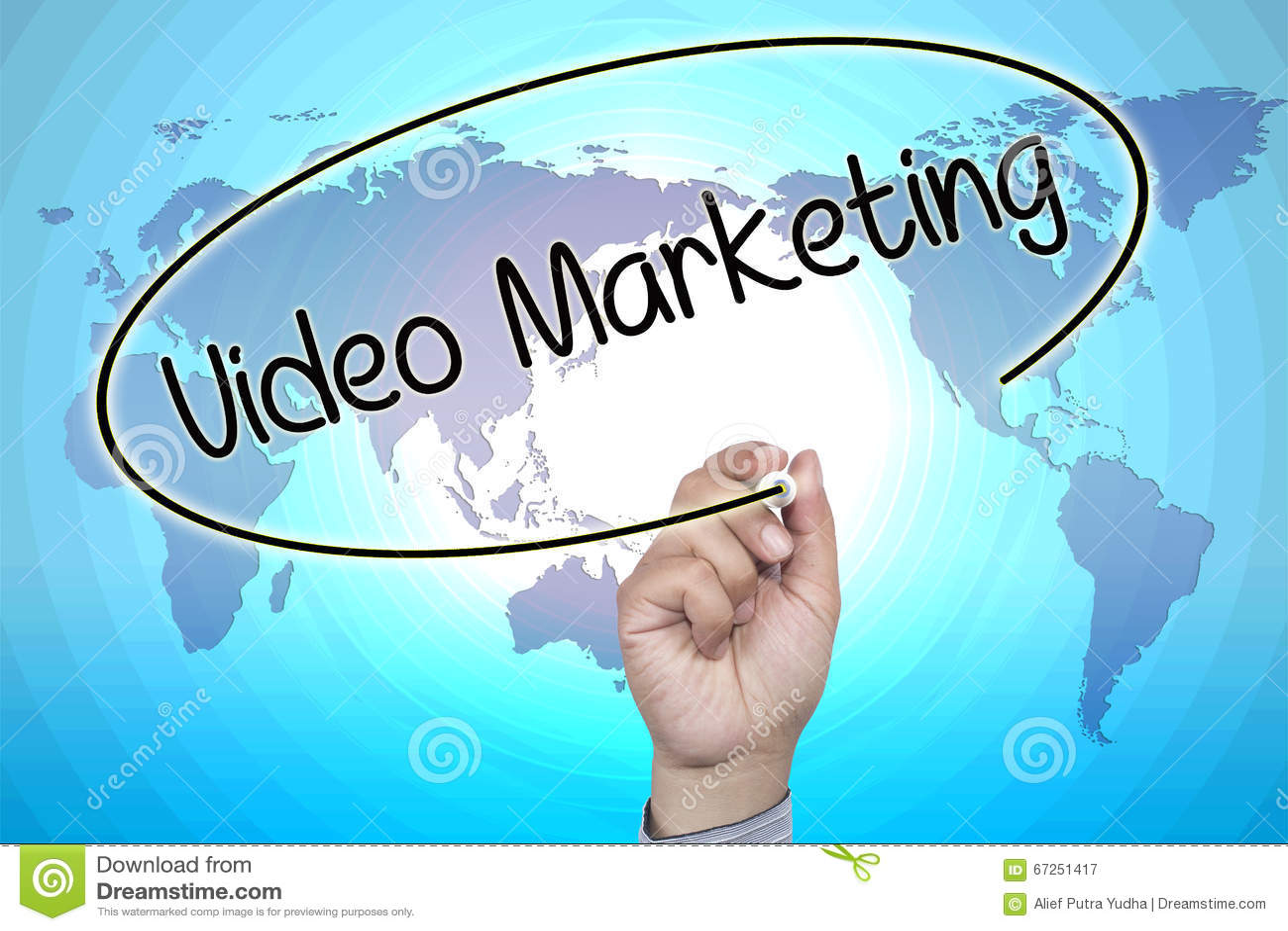 Hand writing Video Marketing on visual screen
