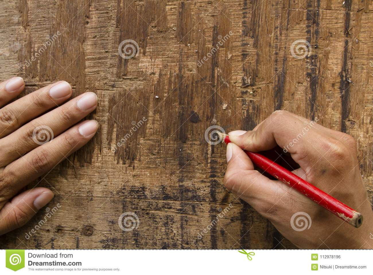 Hand writing on wood plank design furniture concept