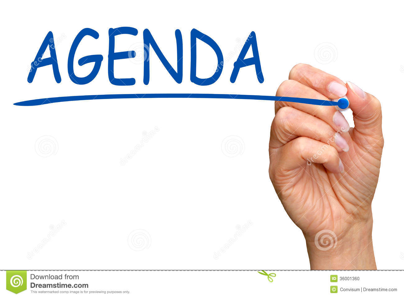 "Hand of woman writing word ""agenda"" on white screen with copy space."