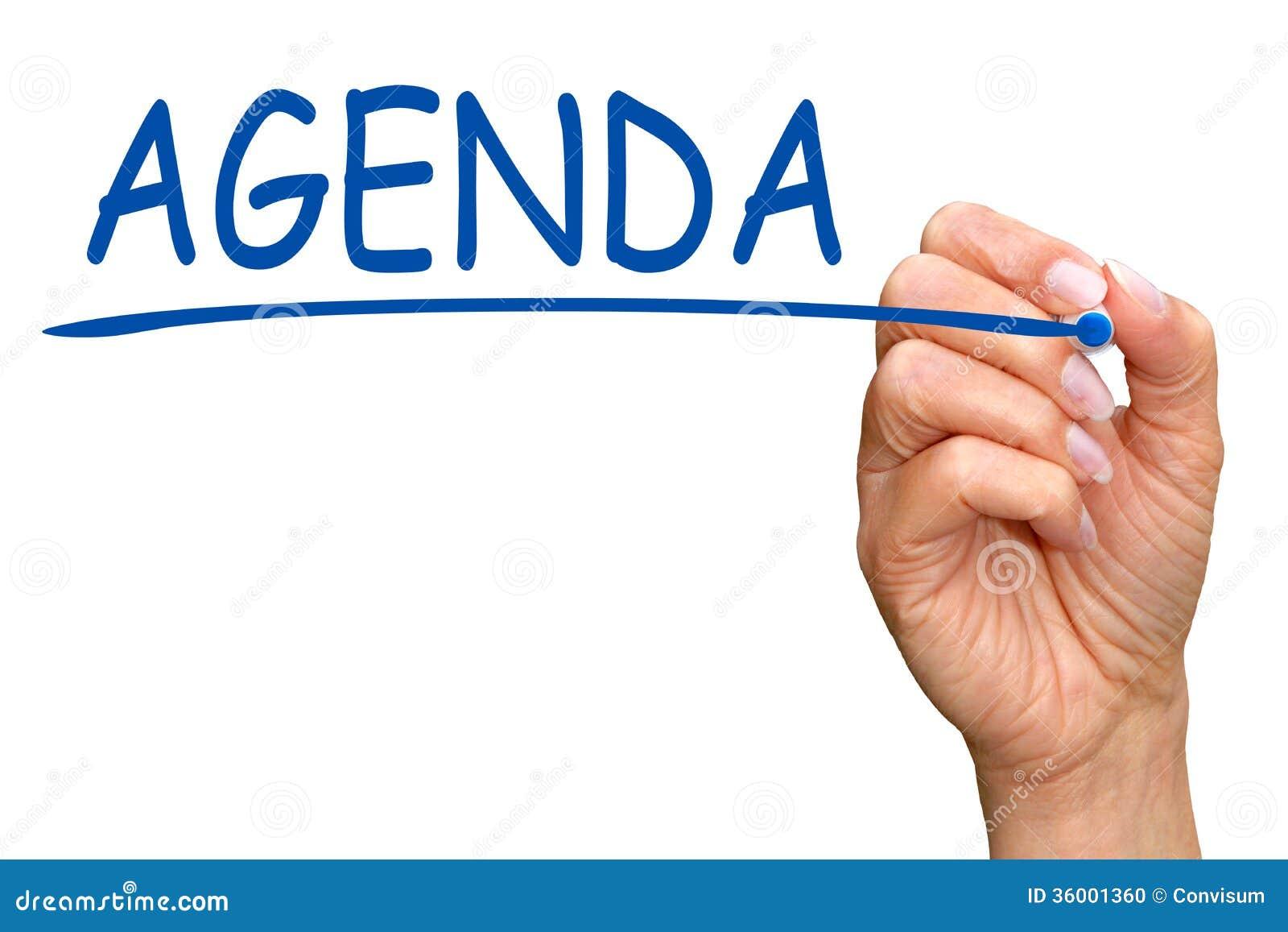 Hand writing word agenda