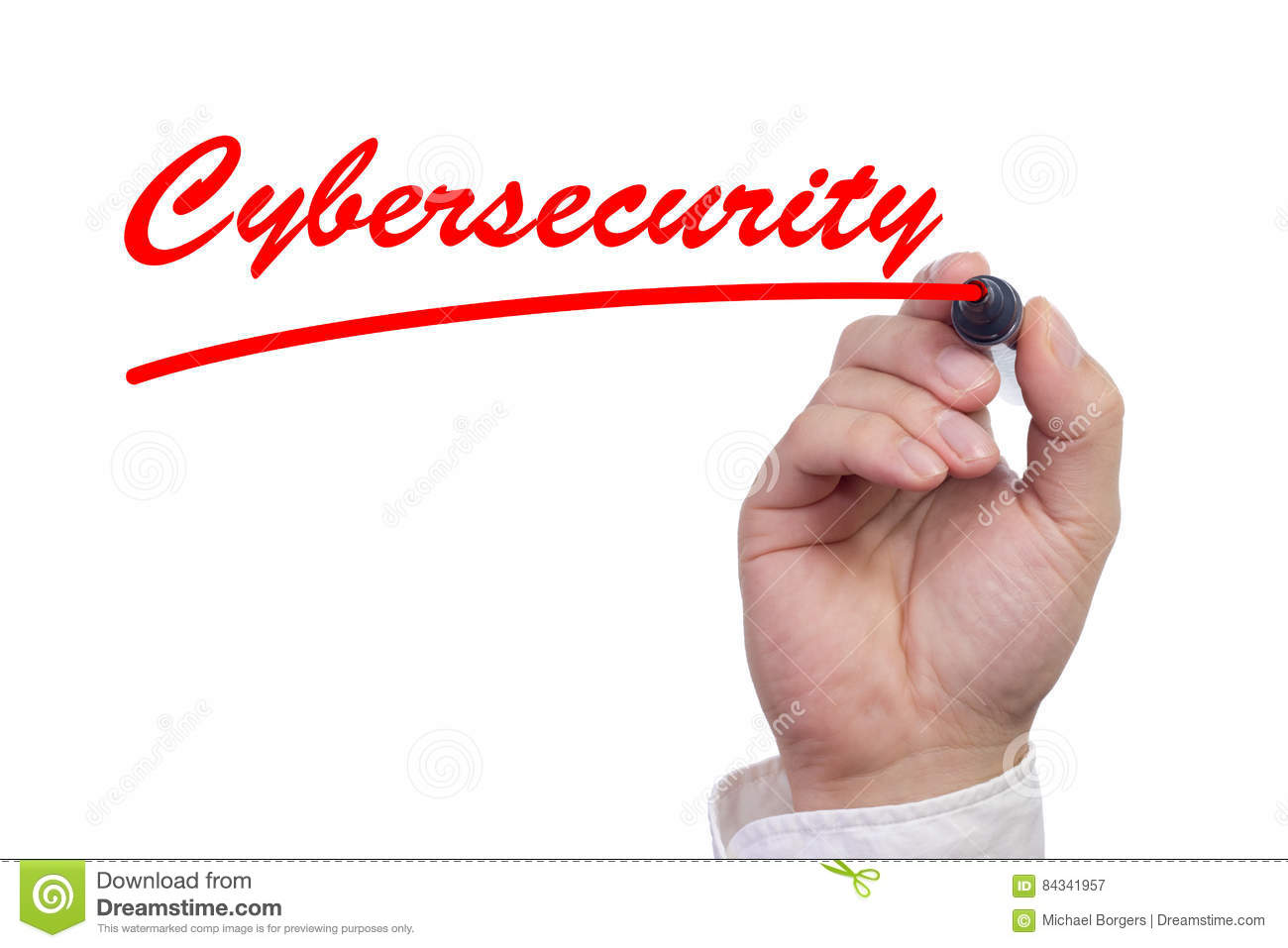 Hand writing the word cybersecurity and underlining it