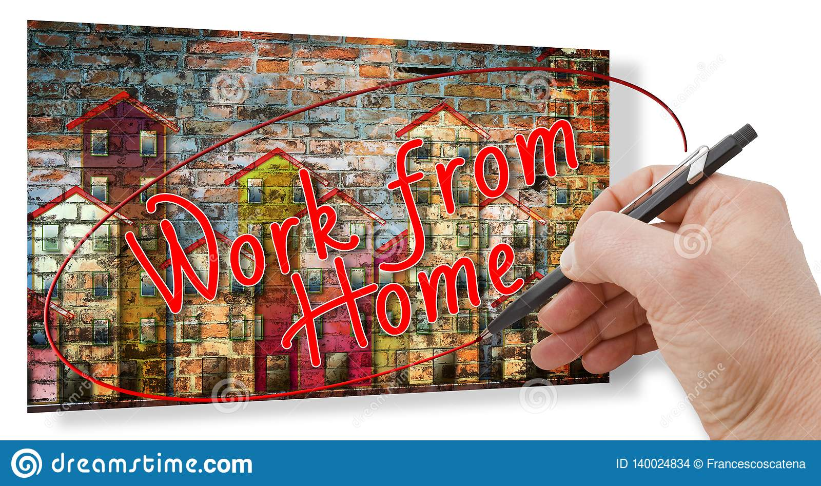 Hand writing `Work from home` - With new technology you can work at home - Concept image