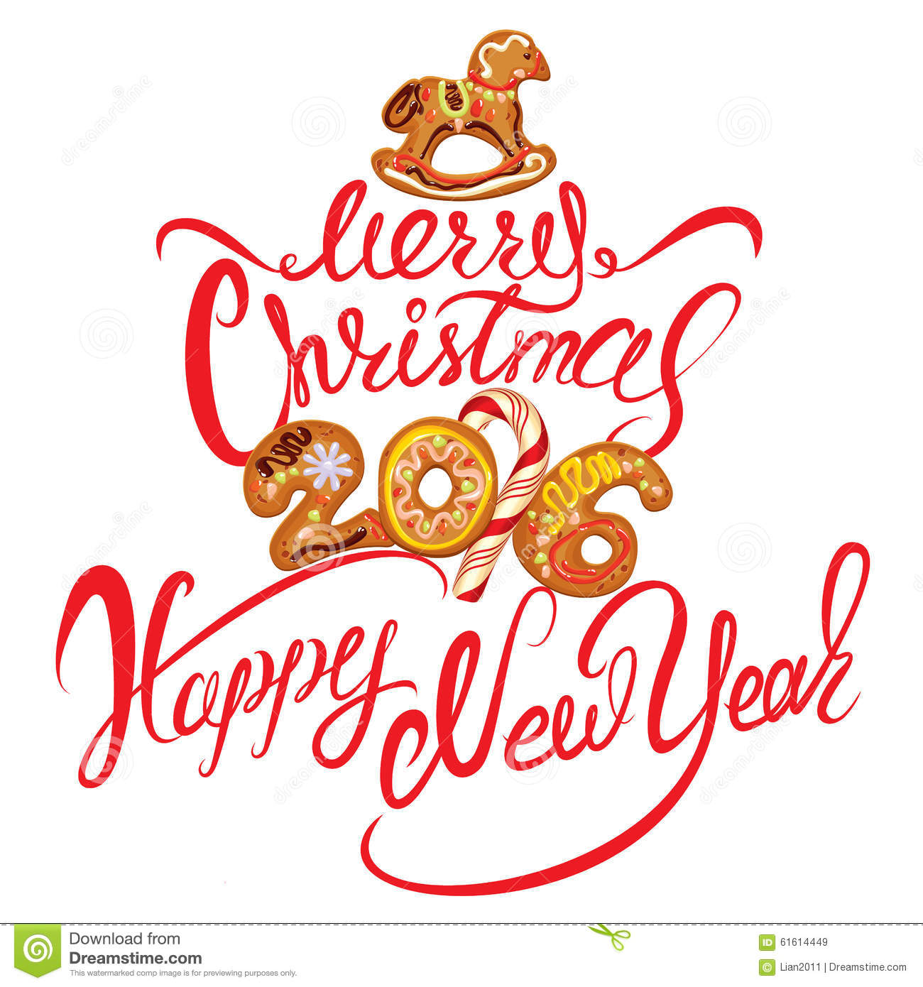 Hand Written Calligraphic Text Merry Christmas And Happy New Yea Stock ...
