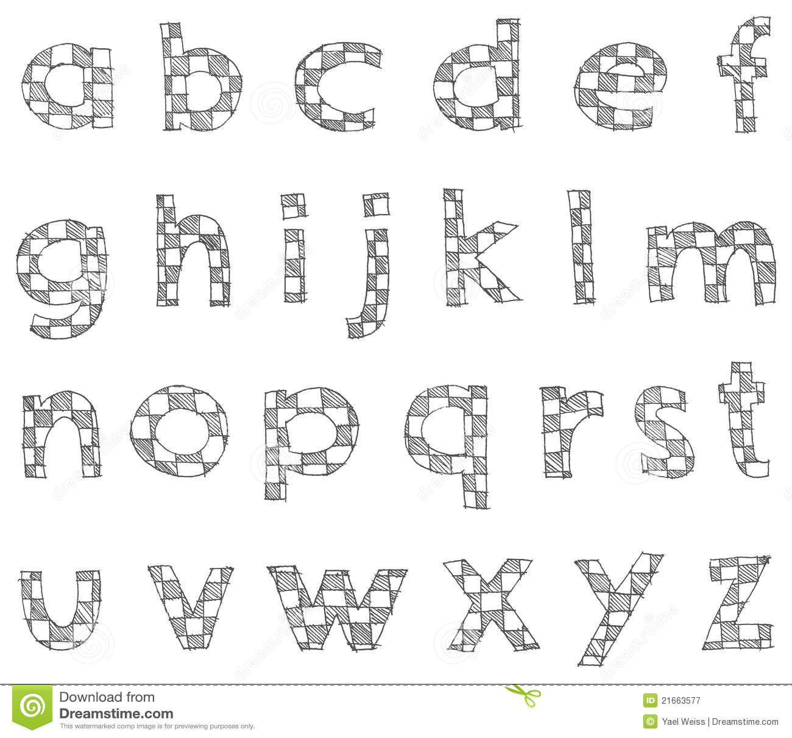 Free Stock Photography Hand Written Checkered Lower Case Alphabet