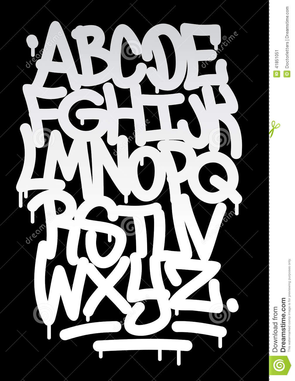 Hand written graffiti font alphabet download preview