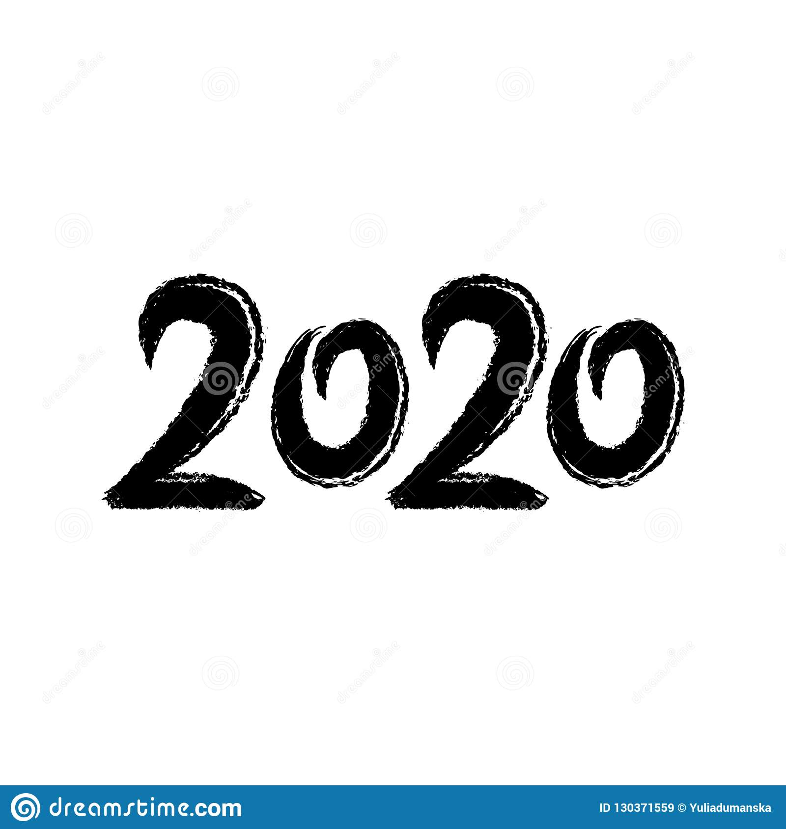 2020 Hand Written Lettering  Golden Acrylic Numbers  2020