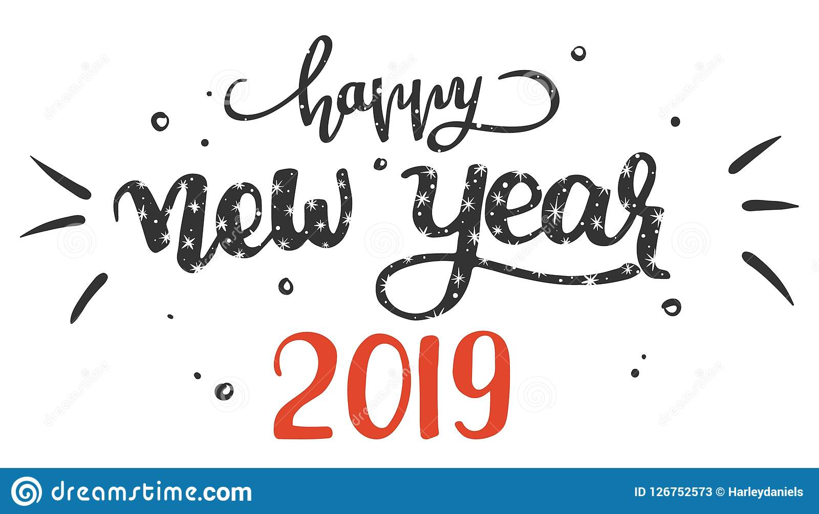 Hand-written Lettering Phrase Happy New Year 2019, Vector ...