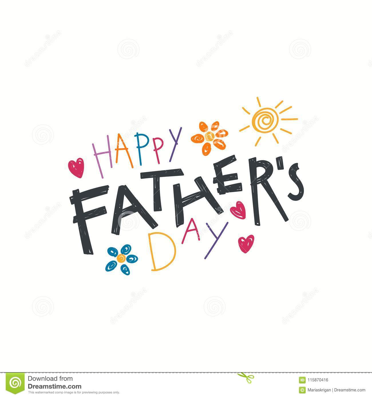 Fathers Day Lettering Quote Stock Vector