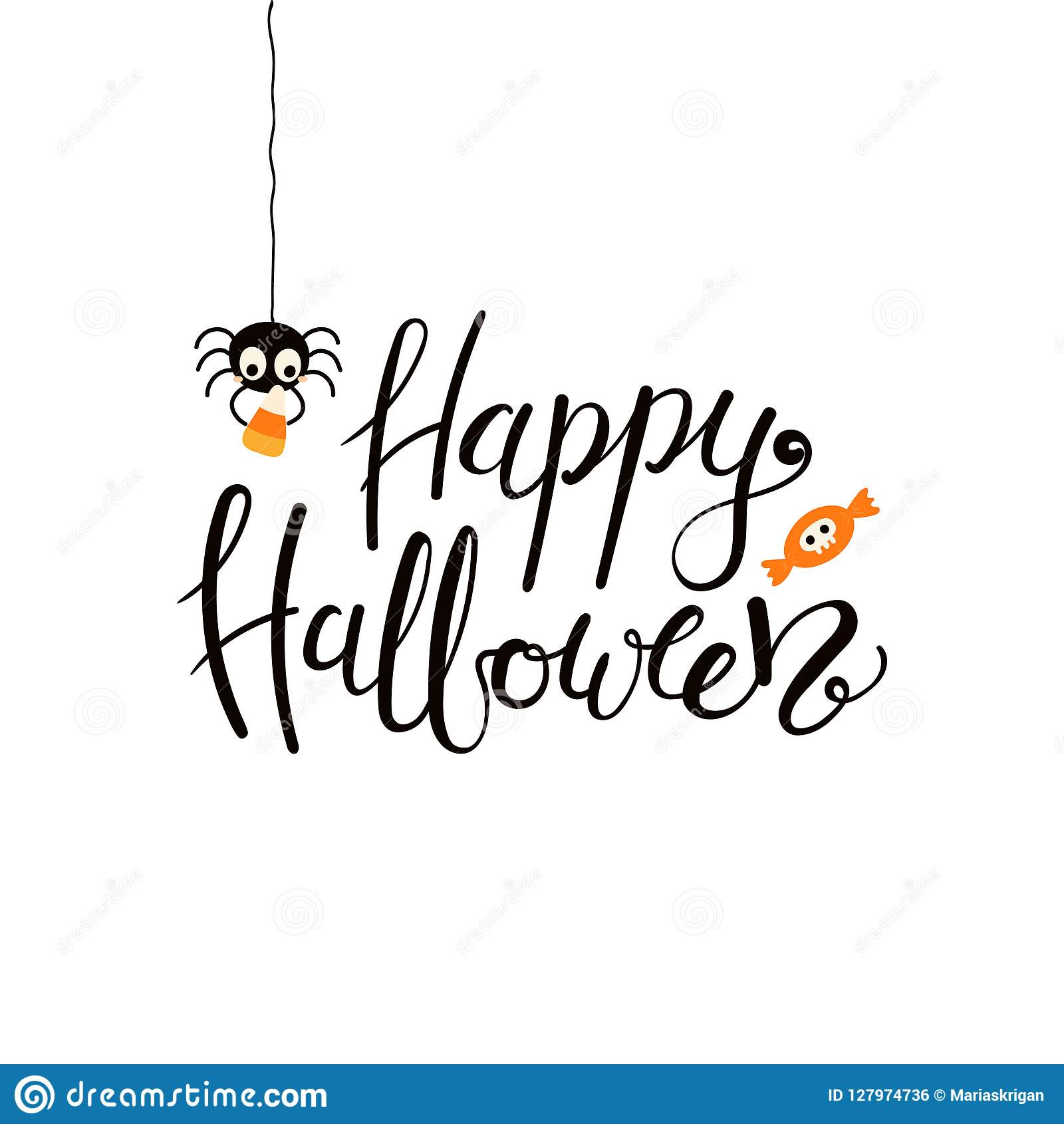 Happy Halloween Lettering Quote Stock Vector Illustration Of Costume Event 127974736