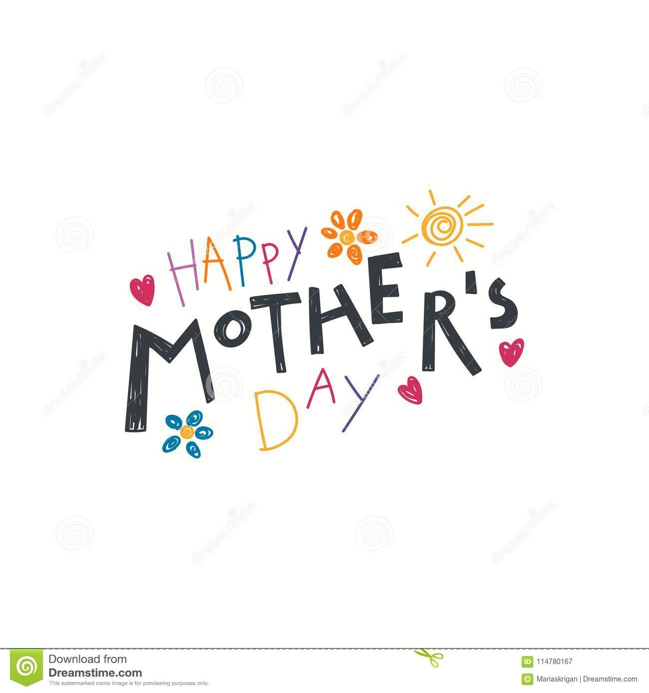 Hand Written Mothers Day Quote Stock Vector Illustration Of