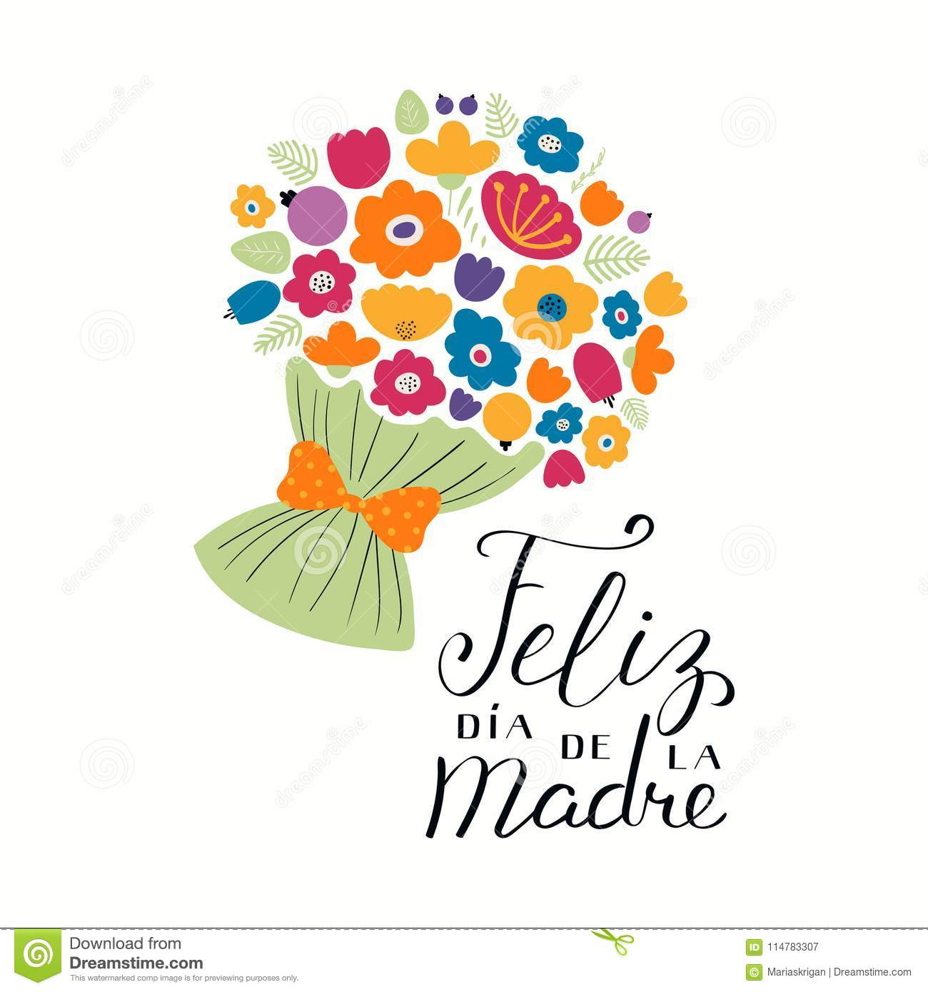 3e45feadac Hand written lettering quote Happy Mothers Day in Spanish, Feliz dia de la  madre, with a bouquet flowers. Isolated on white background. Vector  illustration.