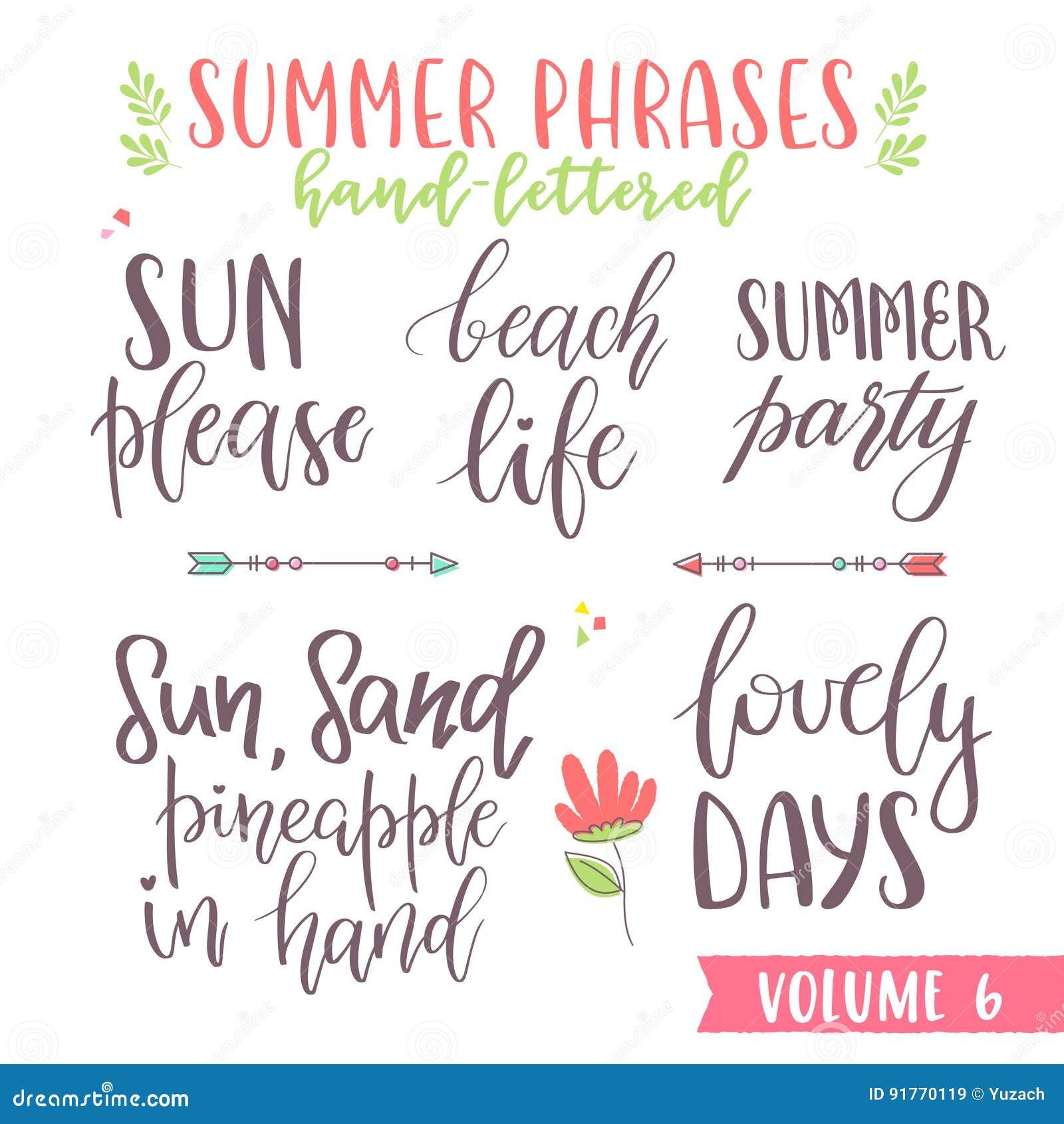 Hand Written Summer Lettering Phrases Stock Vector Illustration Of