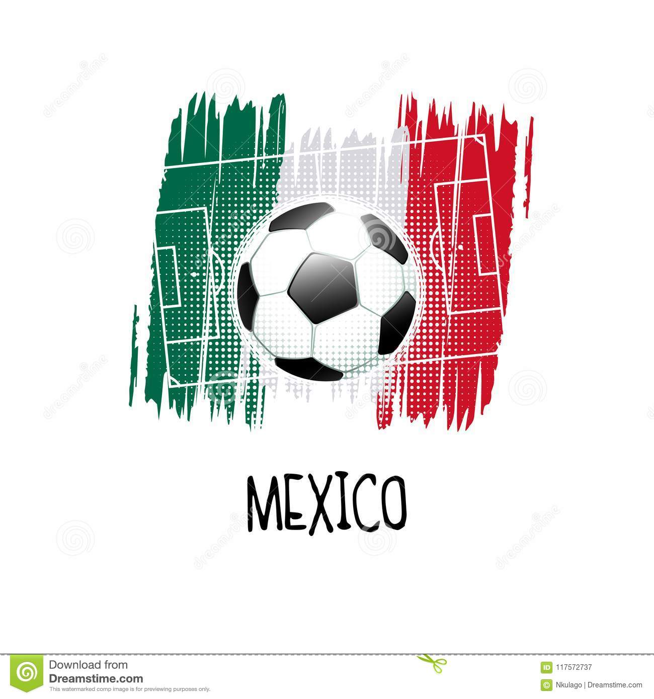 hand written word mexico with soccer ball soccer field and