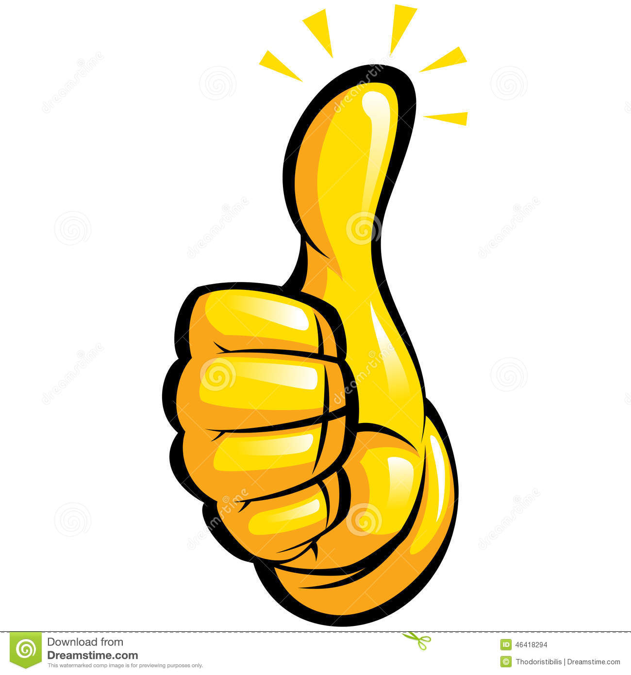 Hand With Yellow Glove In A Fun Thumbs Up Gesture Stock