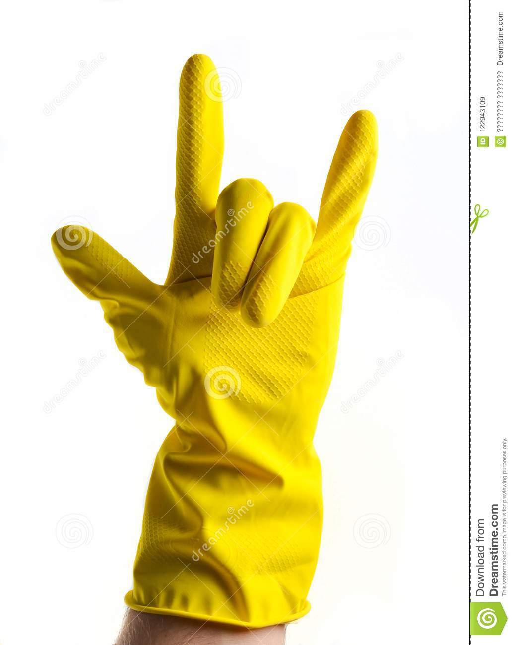 A hand in yellow rubber gloves shows a rock horn, two fingers up on a white