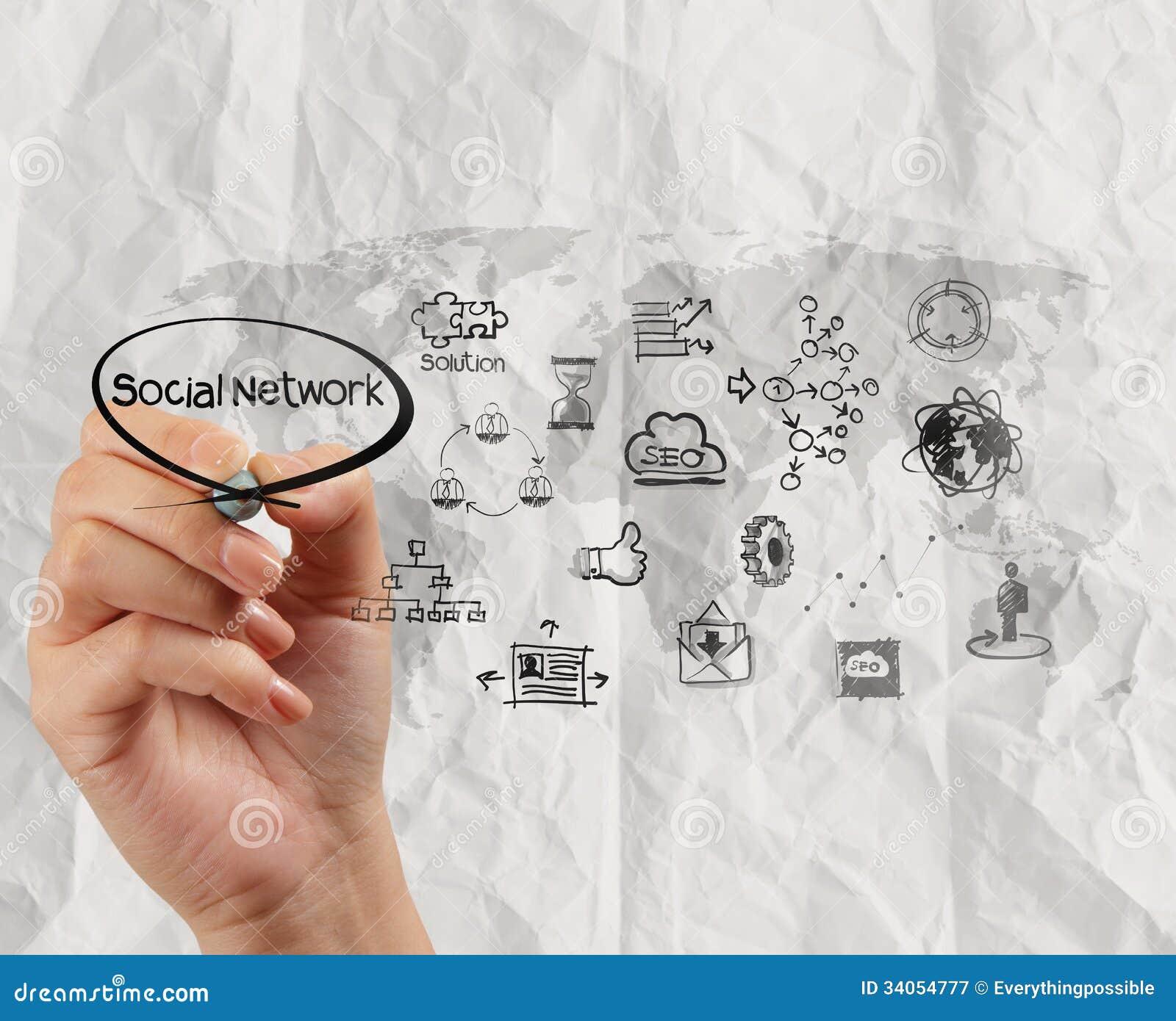 Hand-Zeichnungs-Social Media-Ikone mit zerknittert bereiten Papier-backg auf