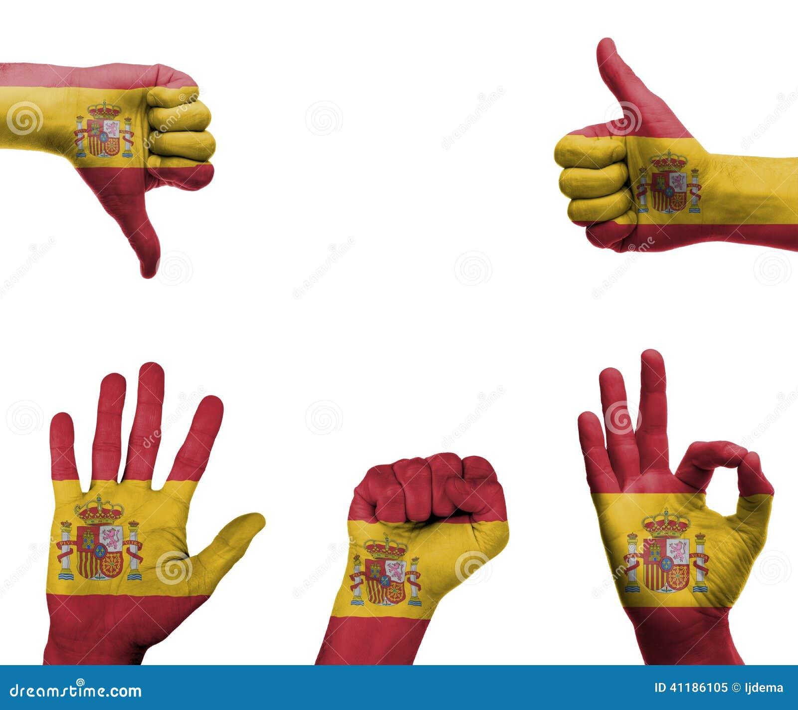 Handapparat Mit Der Flagge Von Spanien Stockbild Bild Von