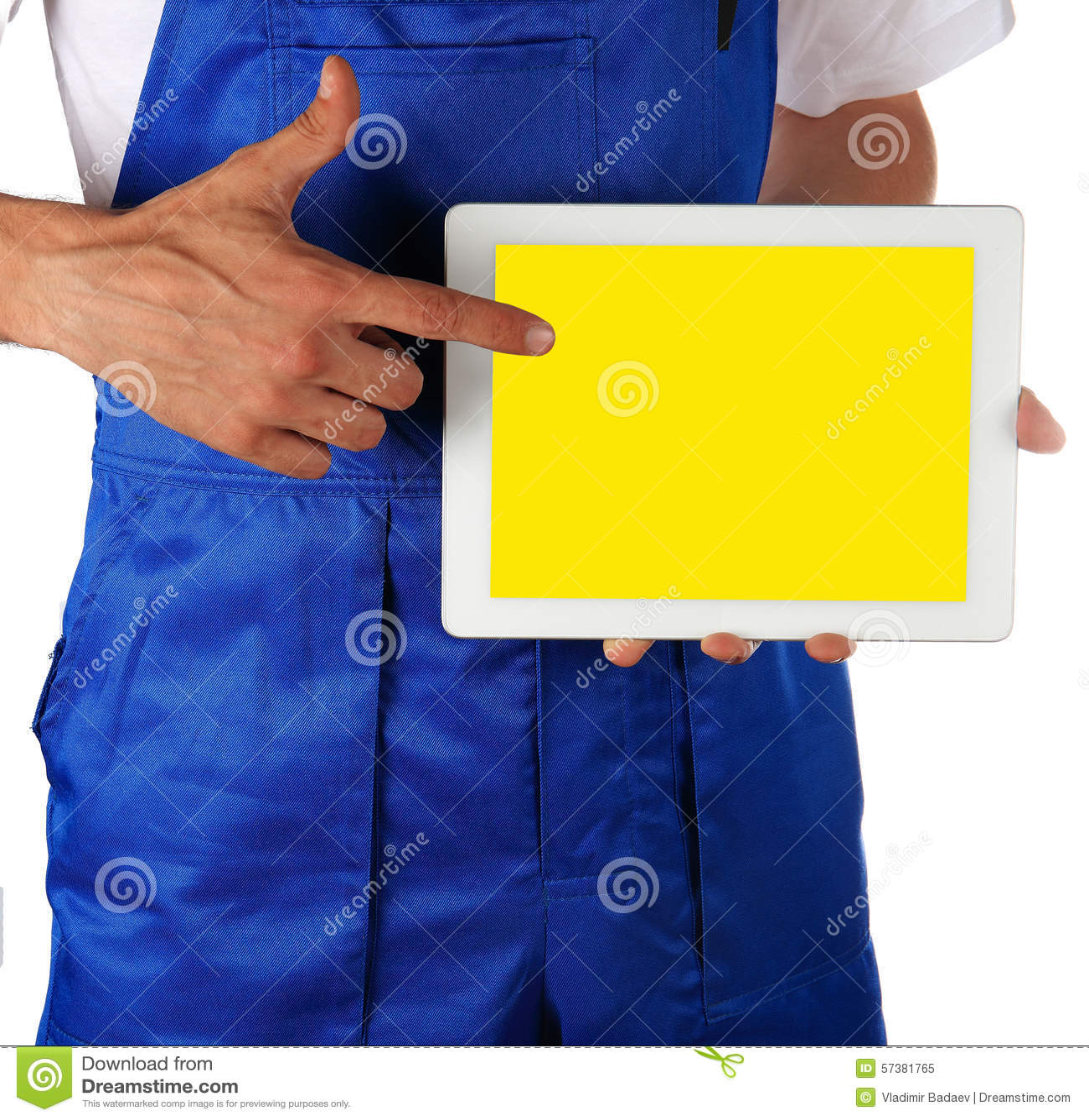 Handarbeidersmens met tablet