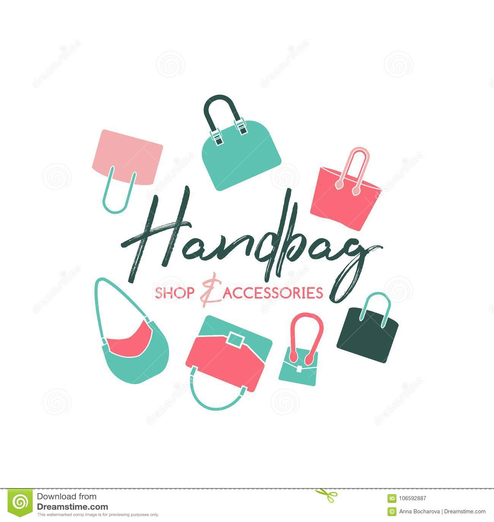 4021de5027 Handbag shop logo in a modern flat style. Vector illustration in pink