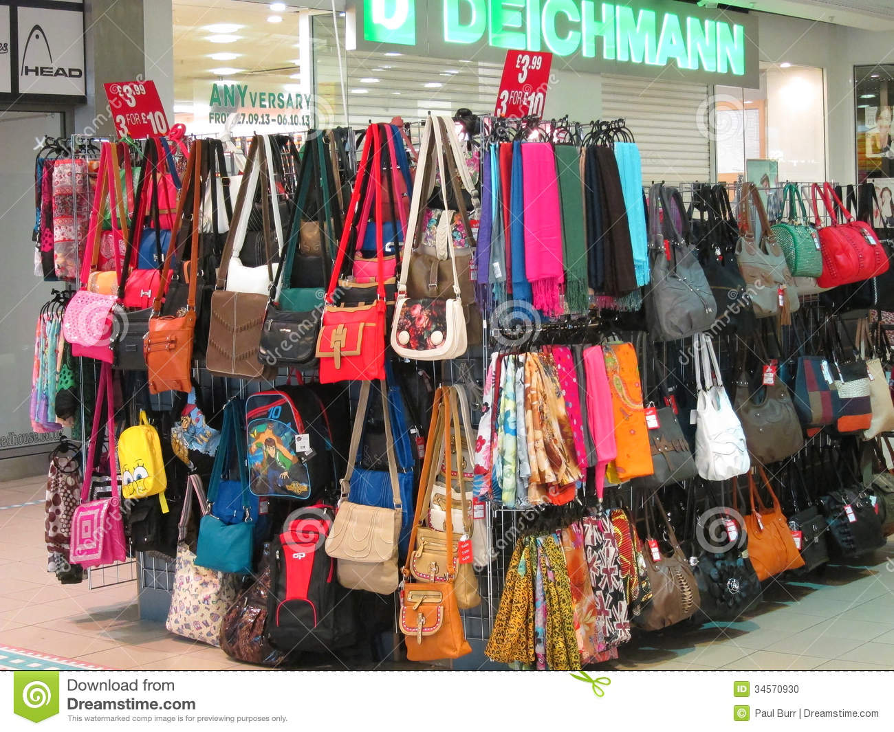 Handbags For Sale In A Shopping Mall Editorial Image