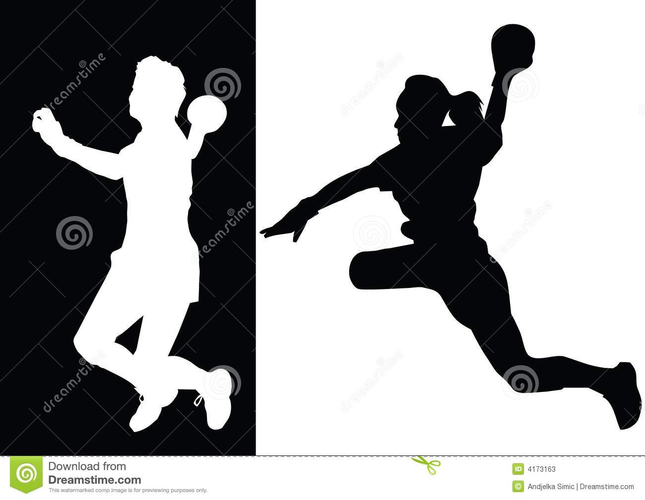 Black and white silhouettes of handball.