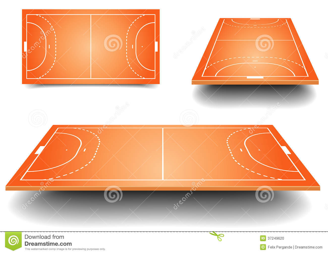 detailed illustration of a handball fields with perspective