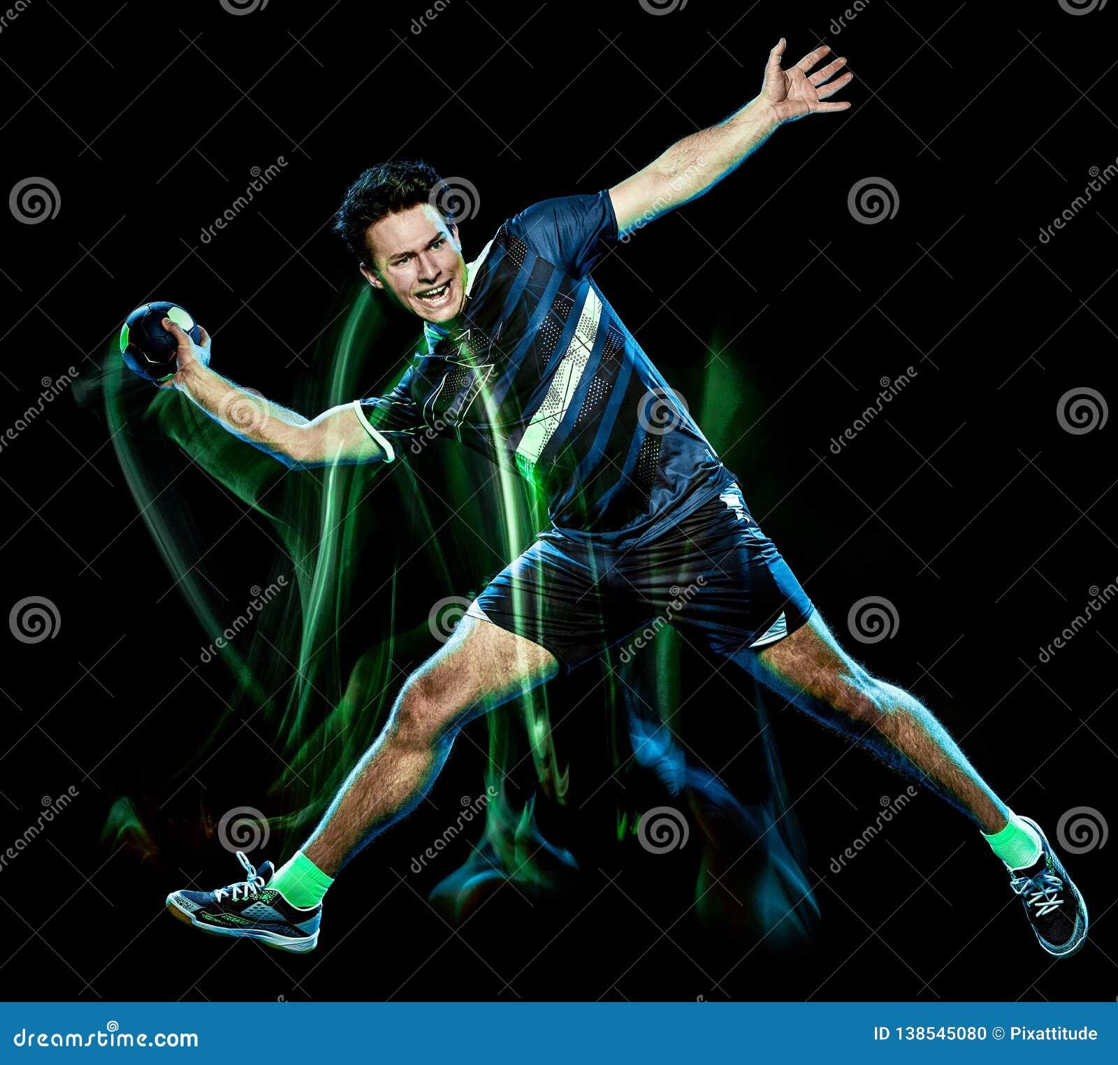 Handball gracza prędkości światła młody człowiek odizolowywający obraz