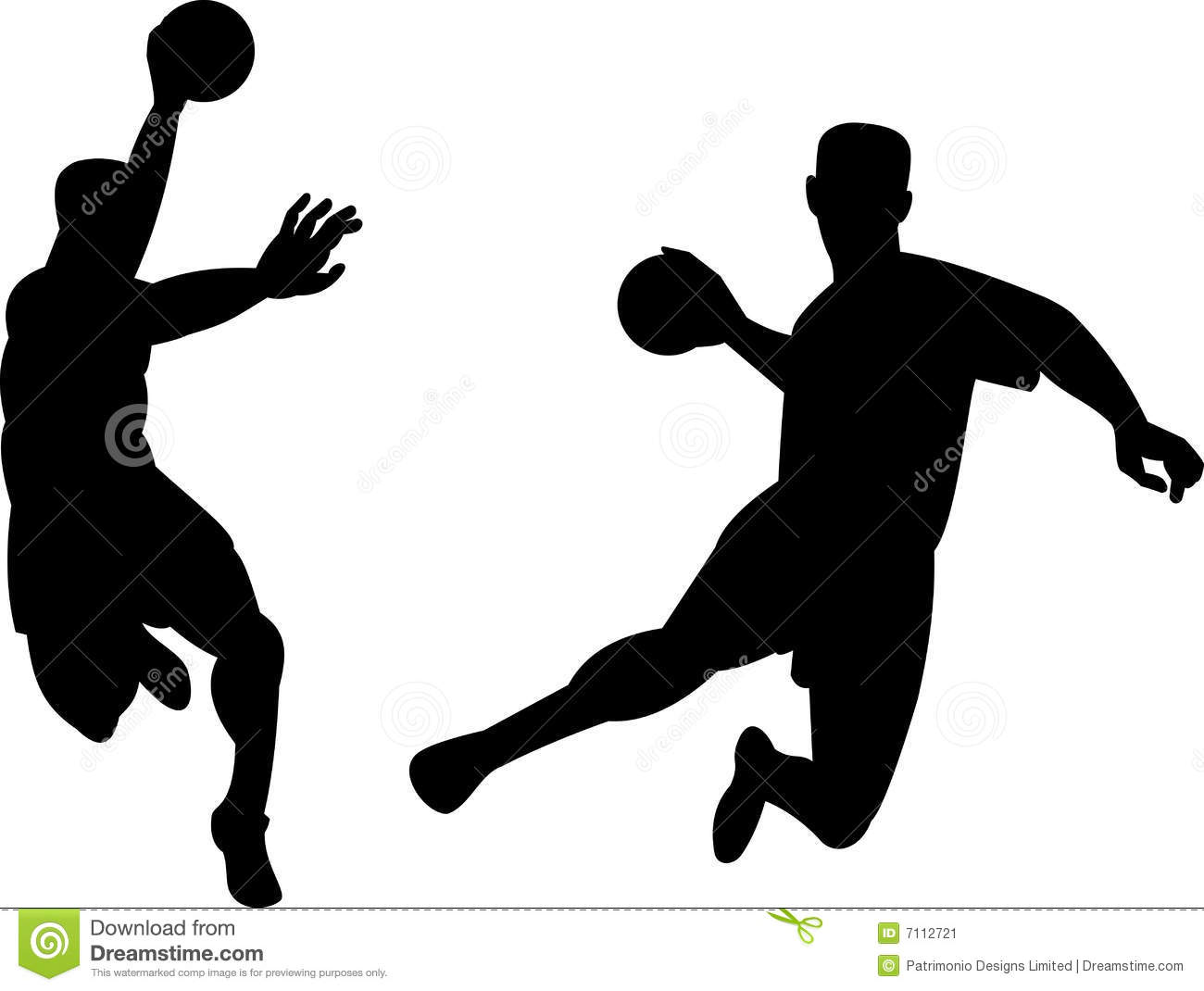 Vector art on the sport of handball isolated on white background.