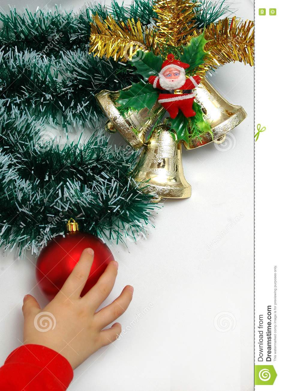 Handbells a red sphere and a bow Christmas decoration