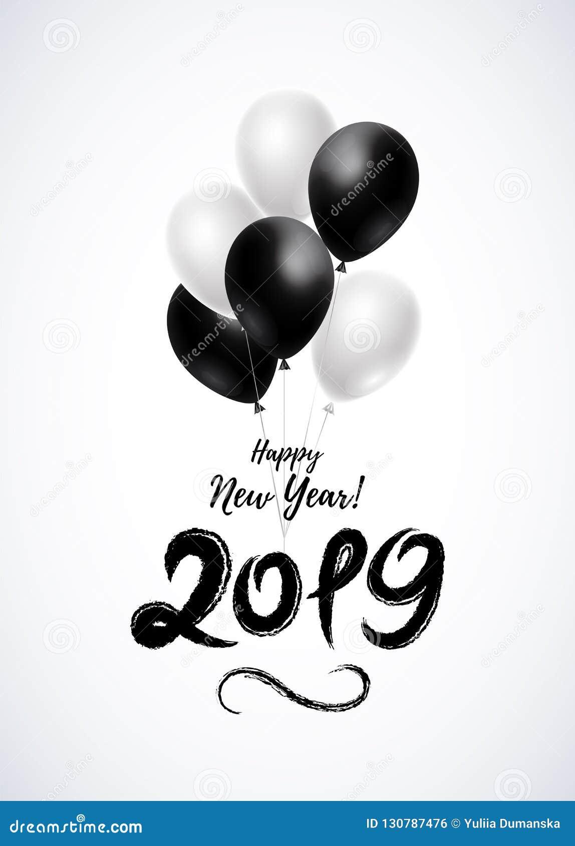 2019 Handbeschriftung Mit Glattem Bündel Helium-Ballonen Guten ...