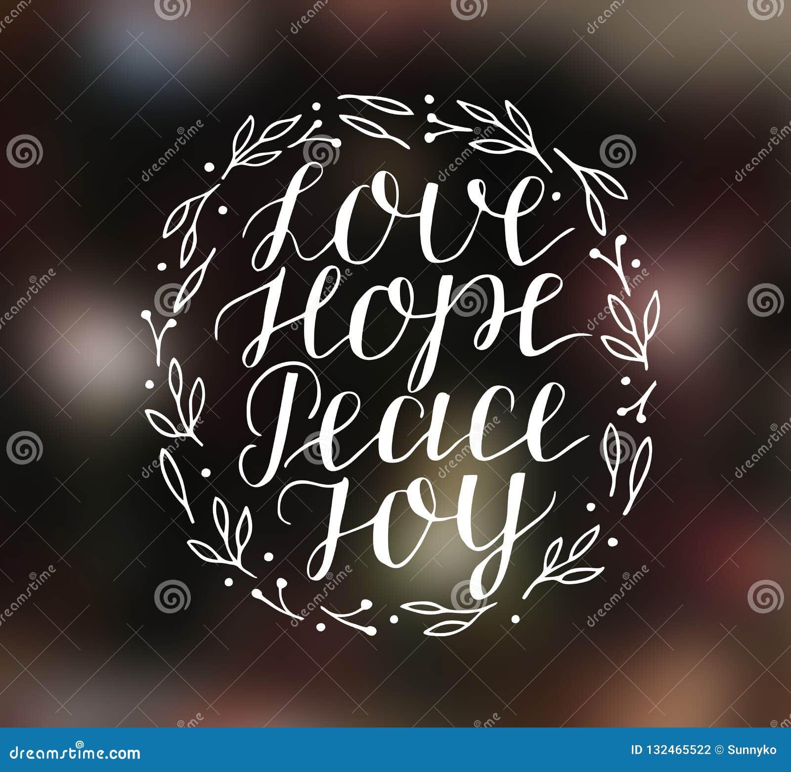 Handbokstäver med inspirerande ferie citerar förälskelse, hopp, fred, glädje